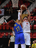 20200206 – OOSTENDE ,  BELGIUM : Swedish Amanda Zahui (17) pictured in a duel with Japanese Ramu Tokashiki (10)during a basketball game between the national teams of Japan and Sweden on the first matchday of the FIBA Women's Qualifying Tournament 2020 , on Thursday 6  th February 2020 at the Versluys Dome in Oostende  , Belgium  .  PHOTO SPORTPIX.BE | DAVID CATRY