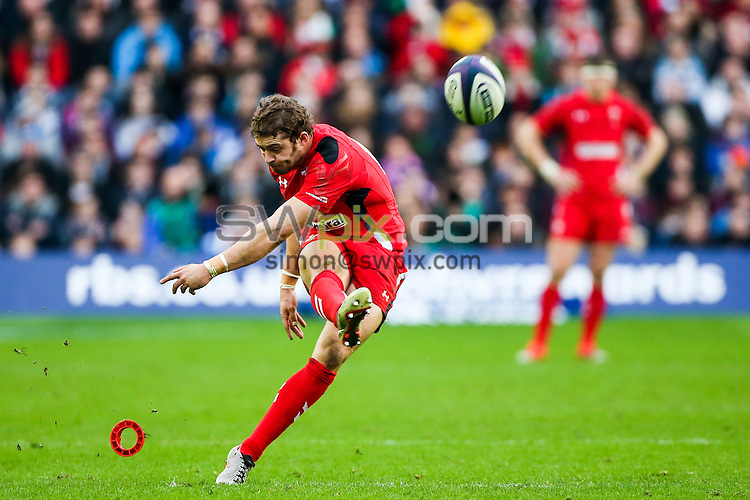 Picture by Alex Whitehead/SWpix.com - 15/02/2015 - Rugby Union - RBS 6 Nations - Scotland v Wales - BT Murrayfield Stadium, Edinburgh, Scotland - Wales' Leigh Halfpenny kicks for goal.