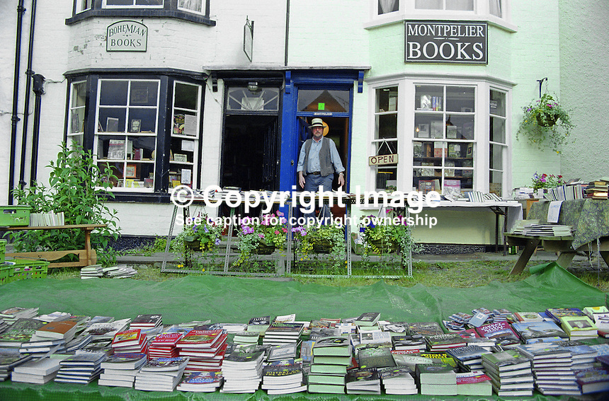 Everywhere you look in Hay-on-Wye, Wales, UK, there are books literally spilling unto the streets. 200005241.<br />