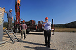 Harold Vinegar, right, Chief Scientist of Israel Energy Initiatives (IEI), and workers, at the company's drilling site extracting shale oil, at Lachish region, Israel.