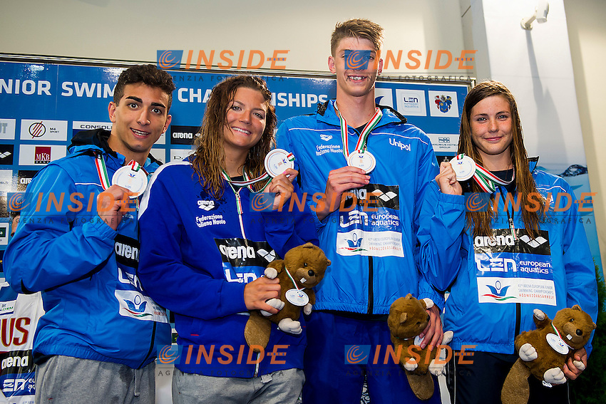 Team Italy ITA<br /> 4X100 Freestyle Mixed Final Bronze Medal<br /> LEN 43rd Arena European Junior Swimming Championships<br /> Hodmezovasarhely, Hungary <br /> Day02 07-07-2016<br /> Photo Andrea Masini/Deepbluemedia/Insidefoto