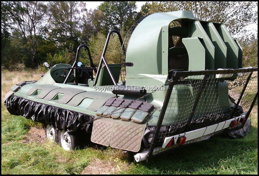 BNPS.co.uk (01202 558833)<br /> Pic: JuliensAuctions/BNPS<br /> <br /> ***Please Use Full Byline***<br /> <br /> The hovercraft that features in the James Bond film, Die Another Day. <br /> <br /> Est: &pound;30,000<br /> <br /> The iconic micro-jet flown by Roger Moore in Octopussy and the swivel chair used by super-villain Blofeld are among a host of props from James Bond movies coming up for sale.<br /> <br /> The 12ft long BD-5J red, white and blue aircraft, that is the world's lightest jet, was piloted by 007 in the opening scenes of Octopussy, outwitting his Cuban captors.<br /> <br /> The aircraft was actually built seven years before the film as part of an air display team and was hired for the 1983 Bond flick.