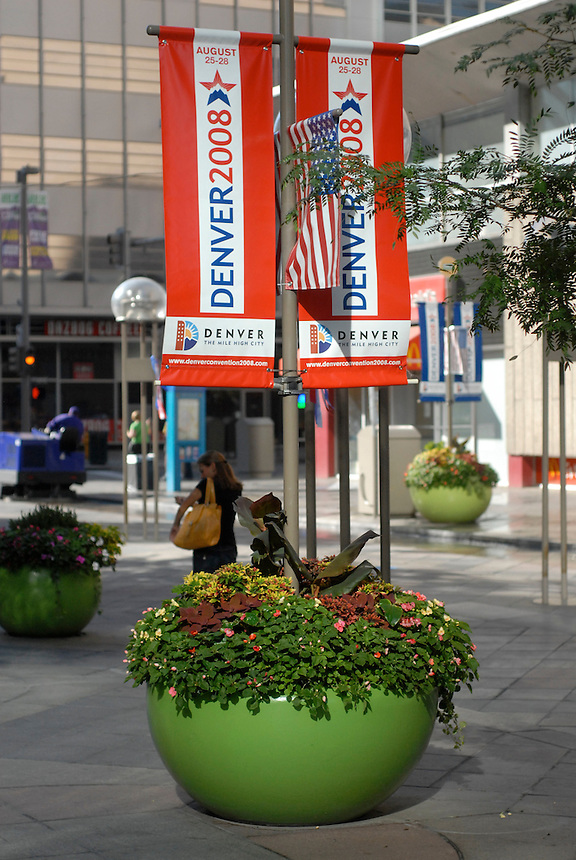 24 Aug 08: Signs announces the 2008 Democratic National Convention on the 16th street mall in Denver, Colorado.