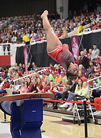 Arkansas' Jessica Yamzon competes Friday, Feb. 7, 2020, in the vault portion of the Razorbacks' meet with Georgia in Barnhill Arena in Fayetteville. Visit  nwaonline.com/gymbacks/ for a gallery from the meet.<br /> (NWA Democrat-Gazette/Andy Shupe)