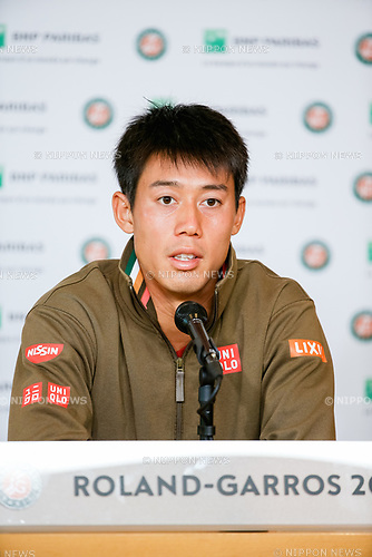 Kei Nishikori (JPN), JUNE 7, 2017 - Tennis : Kei Nishikori of Japan during the press conference after the Men's singles quarter-final match of the French Open tennis tournament against Andy Murray of Great Britain at the Roland Garros in Paris, France. (Photo by AFLO)