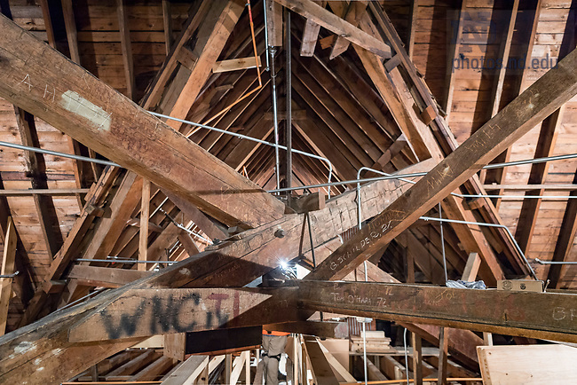 December 29, 2017; Attic of the Basilica of the Sacred Heart during a project to install LED lighting. (Photo by Matt Cashore)