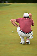 Bethesda, MD - July 2, 2017: Keegan Bradley lines up a putt on the seventeenth hole  during final round of professional play at the Quicken Loans National Tournament at TPC Potomac at Avenel Farm in Bethesda, MD.  (Photo by Phillip Peters/Media Images International)