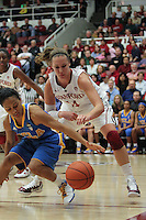 STANFORD, CA - January 20, 2011: Kayla Pedersen makes a steal during Stanford's 64-38 victory over UCLA at Stanford, California on January 20, 2011.