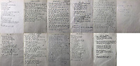 BNPS.co.uk (01202 558833)<br /> Pic: OmegaAuctions/BNPS<br /> <br /> A collection of hand-written lyric sheets that Oasis used while touring their iconic album '(What's The Story) Morning Glory?' has emerged for sale for a whopping £10,000.<br /> <br /> The 10 A4 sheets were scrawled by Noel Gallagher as prompts for the band while they performed to sell-out crowds.<br /> <br /> The annotated words also include guitar chords on the right hand side of the page.<br /> <br /> There are papers for every track on the much-loved record including Wonderwall, Don't Look Back in Anger and She's Electric.