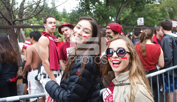STANFORD,CA-- September 21, 2013: Students wait to enter before the Stanford vs Arizona State football game Saturday afternoon at Stanford Stadium.<br /> <br /> The Cardinal defeated the Sun Devils 42 to 28.