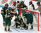 Amanda Drobot (UVM - 12), Ali O'Leary (UVM - 14), Delaney Belinskas (BC - 17), Sammy Kolowrat (UVM - 4), Kristyn Capizzano (BC - 7), Madison Litchfield (UVM - 30), Casey Leveillee (UVM - 5), Pat Silva -  The Boston College Eagles defeated the University of Vermont Catamounts 4-3 in double overtime in their Hockey East semi-final on Saturday, March 4, 2017, at Walter Brown Arena in Boston, Massachusetts.