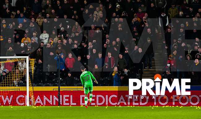 Sheffield United's goalkeeper Jamal Blackman (27) clears the balls during the Sky Bet Championship match between Hull City and Sheff United at the KC Stadium, Kingston upon Hull, England on 23 February 2018. Photo by Stephen Buckley / PRiME Media Images.