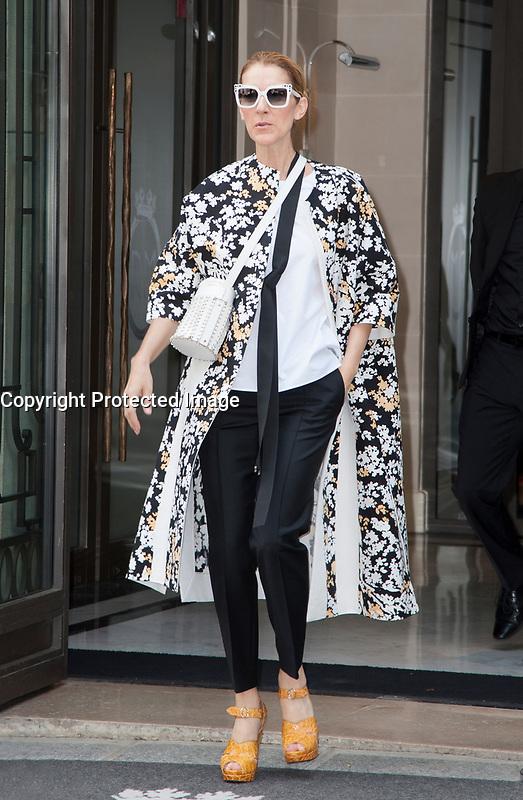 July 15 2017, PARIS FRANCE Singer Celine Dion leaves the Royal Monceau Hotel on Avenue Hoche