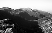 Appalachian Trail - Looking across the Great Gulf Wilderness in the White Mountains, New Hampshire USA. Mount Jefferson (L), Mount Adams (C), Mount Madison (R)