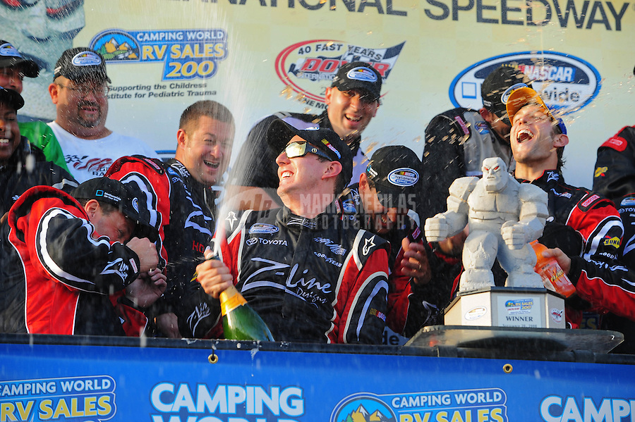 Sept. 20, 2008; Dover, DE, USA; Nascar Nationwide Series driver Kyle Busch celebrates after winning the Camping World RV 200 at Dover International Speedway. Mandatory Credit: Mark J. Rebilas-