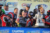 Sept. 20, 2008; Dover, DE, USA; Nascar Nationwide Series driver Kyle Busch celebrates after winning the Camping World RV 200 at Dover International Speedway. Mandatory Credit: Mark J. Rebilas-