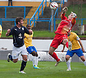 Cowdenbeath keeper Thomas Flynn saves at point blank range from the head of Dundee's Peter MacDonald.