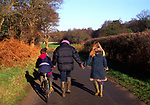 ARM4F2 Family country walk down a quiet lane Butley Suffolk England