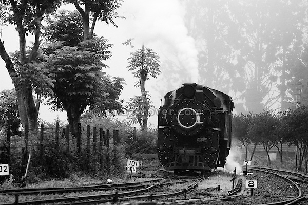 "Steam locomotive ""Nilgiri Queen"" of the Nilgiri Mountain Railway approaching Coonoor Station. India, Tamil Nadu 2005. --- Info: The Nilgiri Mountain Railway (NMR) is the only rack railway in India and connects the town of Mettupalayam with the hill station of Udagamandalam (Ooty), in the Nilgiri Hills of southern India. The construction of the 46km long meter-gauge singletrack railway in Tamil Nadu State was first proposed in 1854, but due to the difficulty of the mountainous location, the work only started in 1891 and was completed in 1908. This railway, scaling an elevation of 326m to 2,203m and still in use today, represented the latest technology of the time. In July 2005, UNESCO added the NMR as an extension to the World Heritage Site of the Darjeeling Himalayan Railway."