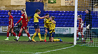 13th February 2020; Deva Stadium, Chester, Cheshire, England; Womens Super League Football, Liverpool Womens versus Arsenal Womens;  Vivianne Miedema of Arsenal Women is congratulated by her team mates after ascoring Arsenal's third goal to make the score 3-2 in the 78th minute