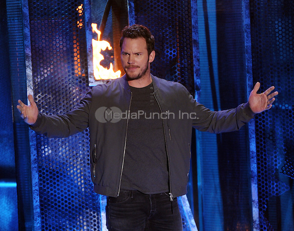 LOS ANGELES, CA - APRIL 13: Chris Pratt speaks onstage at the 2014 MTV Movie Awards at Nokia Theatre L.A. Live on April 13, 2014 in Los Angeles, California. Credit: MPIMIcelotta/MediaPunch