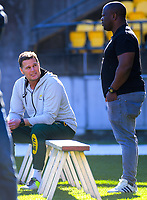 Springboks head coach Rassie Erasmus (left) during the Rugby Championship South Africa Springboks captain's run training session at Westpac Stadium in Wellington, New Zealand on Friday, 26 July 2019. Photo: Dave Lintott / lintottphoto.co.nz
