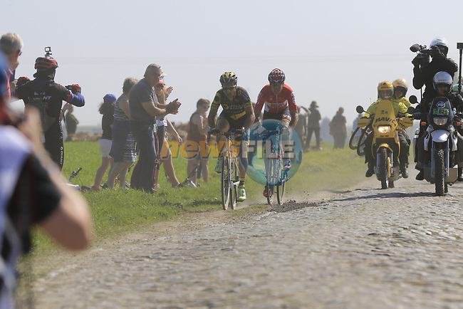 Head of the race Sylvain Chavanel (FRA) Direct Energie and Jelle Wallays (BEL) Lotto-Soudal on pave sector 17 Hornaing a Windignies during the 115th edition of the Paris-Roubaix 2017 race running 257km Compiegne to Roubaix, France. 9th April 2017.<br /> Picture: Eoin Clarke | Cyclefile<br /> <br /> <br /> All photos usage must carry mandatory copyright credit (&copy; Cyclefile | Eoin Clarke)