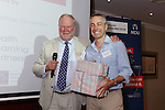 22/07/2015 GP Trainee Awards and Michael Lennard Reception 2015 hosted at The Holiday Inn, Filton, Bristol, by MDU. Professor Bill Irish (right) is presented with leaving gifts by Robin While.