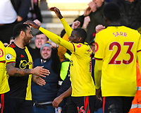 Scorer of the first Watford goal Abdoulaye Doucoure celebrates with Troy Deeney d who scored the second during AFC Bournemouth vs Watford, Premier League Football at the Vitality Stadium on 12th January 2020