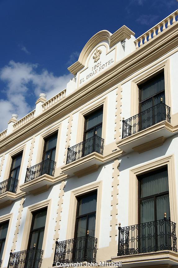 Facade of the Gran Hotel in downtown Merida, Yucatan, Mexico..