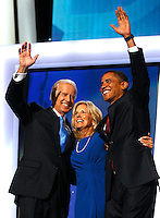 8/27/08 7:45:54 PM -- Denver, CO, U.S.A. The Democratic National Convention: Presidntial candidate Sen. Barack Obama greets Vice Presidential Nominee Sen. Joe Biden, D-Del,  at the Democratic National Convention in Denver, Wednesday, Aug. 27, 2008 at the Pepsi Center.  ...Photo by Pat Shannahan, USA TODAY staff.