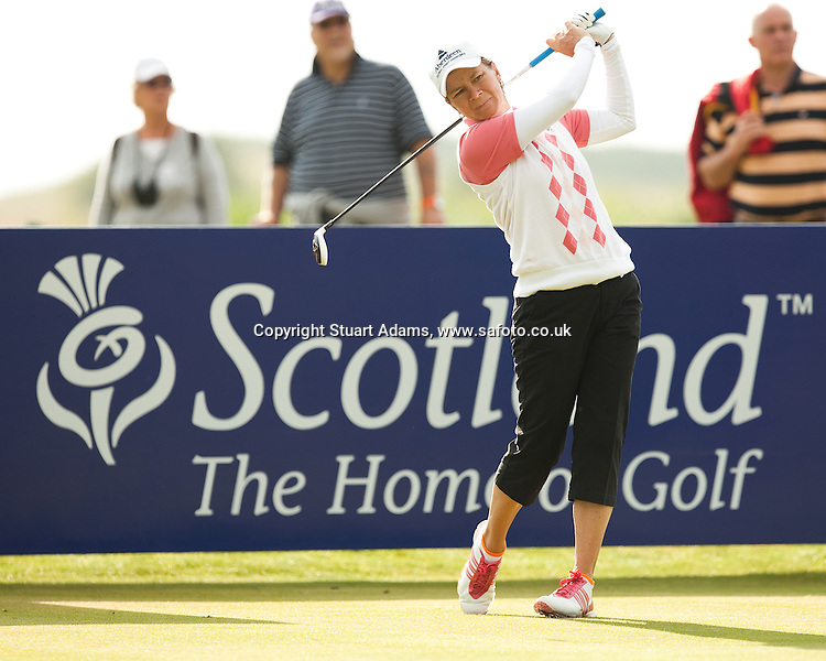 Scotland's Catriona Matthew drives at the 7th hole during the first round play of the  Ricoh Woman's British Open to be played over the Championship Links from 28th to 31st July 2011; Picture Stuart Adams, SAFOTO. www.safoto.co.uk; 28th July 2011