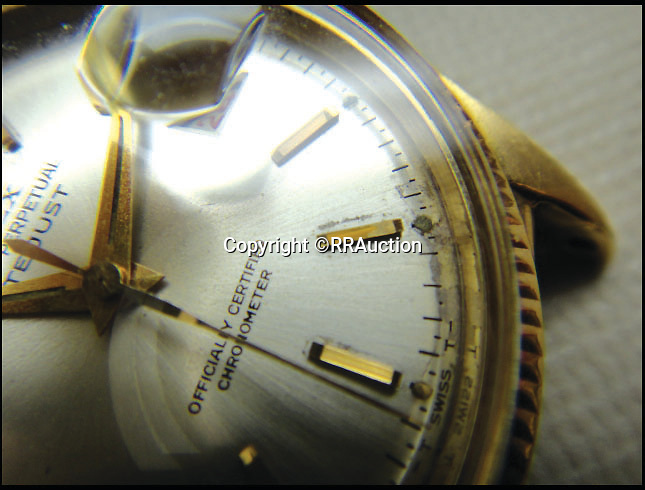 BNPS.co.uk (01202 558833)<br /> Pic: RRAuction/BNPS<br /> <br /> ***Please Use Full Byline***<br /> <br /> THe face of the Rolex Oyster Perpetual DateJust once owned by President Eisenhower. <br /> <br /> A solid gold Rolex watch given to WWII leader Dwight D. Eisenhower for helping save Europe from the Nazis is set to become the world's most expensive after it emerged for sale.<br /> <br /> The 18-carat timepiece is said to be the most valuable and historically significant ever made by the renowned Swiss watchmakers - and is now set to sell for more than a million dollars when it is auctioned for the first time ever.<br /> <br /> It was gifted to American military mastermind Eisenhower by Rolex in 1951, seven years after he successfully led the Allied forces in the D-Day landings.<br /> <br /> It is tipped to smash the world record for a Rolex watch set last year when a rare 1949 Rolex Oyster Perpetual sold for $1.2 million - around 740,000 pounds - when it goes under the hammer at RR Auction.