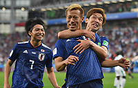 (180624) -- YEKATERINBURG, June 24, 2018 -- Keisuke Honda (C) of Japan celebrates his scoring with teammates during the 2018 FIFA World Cup WM Weltmeisterschaft Fussball Group H match between Japan and Senegal in Yekaterinburg, Russia, June 24, 2018. The match ended in a 2-2 draw. ) (SP)RUSSIA-YEKATERINBURG-2018 WORLD CUP-GROUP H-JAPAN VS SENEGAL LiuxDawei PUBLICATIONxNOTxINxCHN  <br /> YEKATERINBURG 24-06-2018 Football FIFA World Cup Russia  2018 <br /> Japan - Senegal / Giappone - Senegal<br /> Foto Xinhua/Imago/Insidefoto