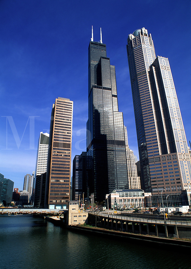 The Chicago skyline and River. Chicago, Illinois.