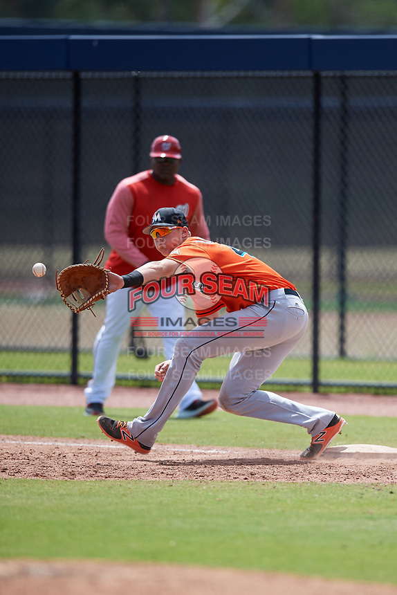 Miami Marlins Sean Reynolds (47) during a Minor League Spring Training game against the Washington Nationals on March 28, 2018 at FITTEAM Ballpark of the Palm Beaches in West Palm Beach, Florida.  (Mike Janes/Four Seam Images)