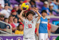 ORLANDO, FL - MARCH 05: Yuka Momiki #10 of Japan throws the ball in during a game between Spain and Japan at Exploria Stadium on March 05, 2020 in Orlando, Florida.