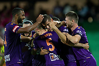 7th February 2020; HBF Park, Perth, Western Australia, Australia; A League Football, Perth Glory versus Wellington Phoenix; Tomislav Mrcela of the Perth Glory celebrates with team mates after scoring in the 43rd minute to give Perth Glory a 1-0 lead
