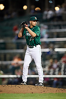 Fort Wayne TinCaps relief pitcher Evan Miller (33) gets ready to deliver a pitch during a game against the West Michigan Whitecaps on May 17, 2018 at Parkview Field in Fort Wayne, Indiana.  Fort Wayne defeated West Michigan 7-3.  (Mike Janes/Four Seam Images)