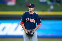 Salem Red Sox starting pitcher Jalen Beeks (31) looks to his catcher for the sign against the Winston-Salem Dash at BB&T Ballpark on April 15, 2016 in Winston-Salem, North Carolina.  The Red Sox defeated the Dash 3-2.  (Brian Westerholt/Four Seam Images)