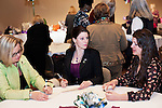 Robin Bowlus (left) Madisen Medley (center) and Samantha Tishler (right) learn about each other during a networking session atthe Women in Philanthropy conference on Thursday, March 14th in Baker Ballroom.Photo by: Ross Brinkerhoff.