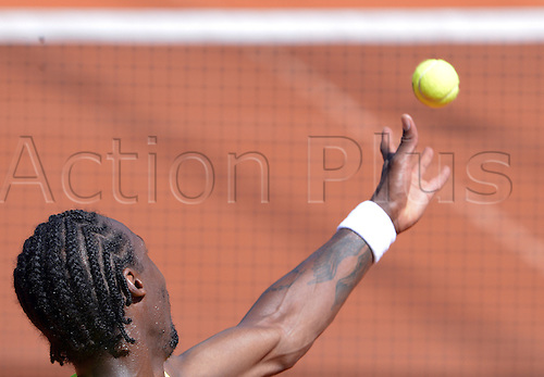 17.07.2013. Hamburg, Germany.  France's Gael Monfils serves the ball during the second round match against Argentina's Monaco during the 2013 International German Open at Am Rothenbaum inHamburg,Germany, 17July 2013.