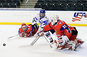Andrey Sergeev (Russia - 11), Toni Rajala (Finland - 21), Igor Bobkov (Russia - 29) - Russia defeated Finland 4-0 at the Urban Plains Center in Fargo, North Dakota, on Friday, April 17, 2009, in their semi-final match during the 2009 World Under 18 Championship.