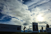 Silhouetted player during day 1 of the Boys' Home Internationals played at Royal Dornoch, Dornoch, Sutherland, Scotland. 07/08/2018<br /> Picture: Golffile | Phil Inglis<br /> <br /> All photo usage must carry mandatory copyright credit (&copy; Golffile | Phil Inglis)
