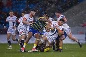 9th December 2017, AJ Bell Stadium, Salford, England; European Rugby Challenge Cup, Sale Sharks versus Cardiff Blues; Sale Sharks' Rohan Janse Van Rensburg is tackled by Cardiff Blues' Rey Lee-Lo