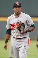 Fresno Grizzlies second baseman Tony Abreu (6) before the Pacific Coast League baseball game against the Round Rock Express on June 22, 2014 at the Dell Diamond in Round Rock, Texas. The Express defeated the Grizzlies 2-1. (Andrew Woolley/Four Seam Images)