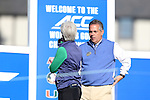 17 April 2016: Sedgefield Country Club's Director of Golf Kenneth J. Rocky Brooks (right) talks with Notre Dame head coach Susan Holt (left). The Second Round of the Atlantic Coast Conference's Women's Golf Championship was held at Sedgefield Country Club in Greensboro, North Carolina.