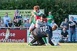 04.09.2018, Hoheellern-Stadion, Leer, GER, FSP, Werder Bremen (GER) vs FC Emmen (NED)<br /> <br /> DFL REGULATIONS PROHIBIT ANY USE OF PHOTOGRAPHS AS IMAGE SEQUENCES AND/OR QUASI-VIDEO.<br /> <br /> im Bild / picture shows<br /> Joshua Sargent (Werder Bremen #19) im Duell / im Zweikampf mit Gersom Klok (FC Emmen #05), Dennis Telgenkamp (FC Emmen #26), <br /> <br /> Foto © nordphoto / Ewert