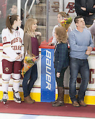 Meghan Grieves (BC - 17), Debbie Grieves, Brooke DiBona (BC), ?, Chad Grieves - The Boston College Eagles defeated the visiting Providence College Friars 7-1 on Friday, February 19, 2016, at Kelley Rink in Conte Forum in Boston, Massachusetts.