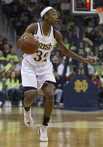 January 26, 2013:  Notre Dame guard Jewell Loyd (32) dribbles the ball during NCAA Basketball game action between the Notre Dame Fighting Irish and the Providence Friars at Purcell Pavilion at the Joyce Center in South Bend, Indiana.  Notre Dame defeated Providence 89-44.
